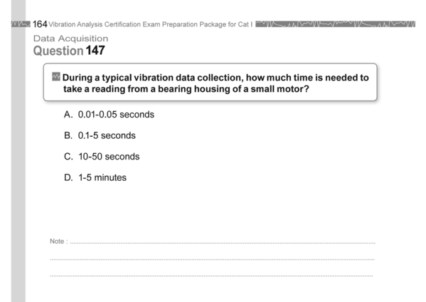 Vibration Analysis Certification Exam Category I Data Acquisition Question 147